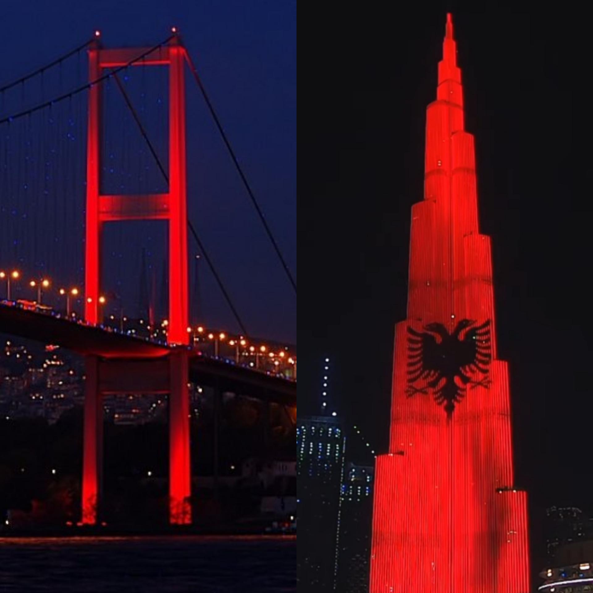 Dubai dhe Turqia bëhen kuq e zi! Flamuri shqiptar vendoset në ndërtesën më të lartë në botë!